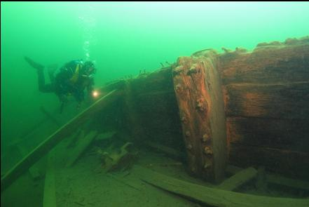 side of the deeper section of the dock