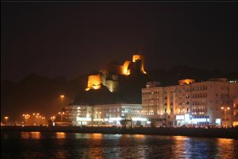 Muscat waterfront and another castle